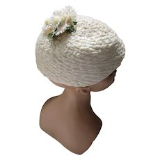 Cute Hat in White Cellophane Weave with Top Knot of Daisies Gladys Johnson
