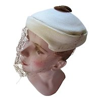 Mid Century Topper Hat in Cream Straw with Coiled Chenille Tab by Louise Chapeaux