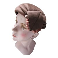 Chestnut Brown Felt Beret with Beaded Decoration Henry Pollak Glenover 1940 1950 Style