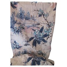Drapery Fabric Garden Scene Lovely Blues with Splashes of Pink and Gray Spectrum Original
