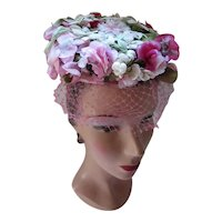 Plethora of Flowers Mid Century Hat Topper in Pink & White Blossoms J Jrs Union Made