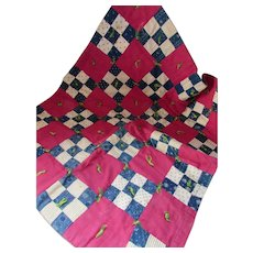 Child or Doll Tied Quilt or Lap Robe in Nine Patch Pattern in Blue Print and Maroon Blocks