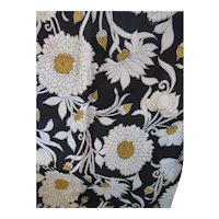 Length of Fabric  Upholstery Weight Cream & Yellow Blossoms on Black 1 yard