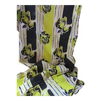 Length of Fabric Plisse in Lime Green and Black Roses