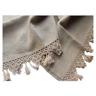 Gorgeous Vintage Linen Mantel or Piano Scarf with Crochet Lace and Tassels in Ecru Tone