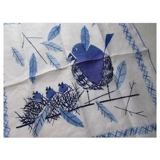 Vintage Handkerchief Hankie by KATI Mother Blue Bird Feeding Baby Birds Free Shipping USA
