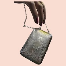 German Silver Embossed Coin Case Early 20th Century
