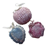 Trio Hand Made Crochet Pin Cushions or Sachets in Blue and Pink