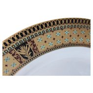 GNA Fine China Porcelain Dinner Plates Elegant Set of Four in Blue, Gold, Black