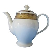 Handsome GNA Fine Porcelain China Coffee Pot Turquoise Brown