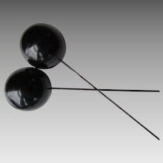 Edwardian Era Hat Pins Black Wood Balls on Long Pins