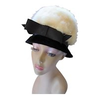 Stunning Mid Century High Crown Hat in Black Velvet & White Fur