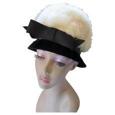 Stunning Mid Century High Crown Hat in Black Velvet & White Fur