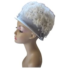 1960 Era Bouffant Bubble Hat in Powder Blue & White Blossoms Spring Church Hat