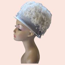 1960 Era Bouffant Bubble Hat in Powder Blue & White Blossoms Spring Church Hat