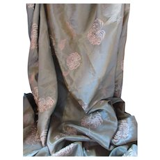 Length of Fabric in Iridescent Sage and Turquoise with Embroidered Mums Taffeta Weight