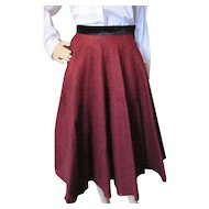 Mid Century Circle Skirt in Oxblood Felt with Black Velvet Waistband