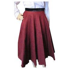Mid Century Circle Skirt in Oxblood Felt with Black Velvet Waistband