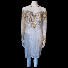 Vintage Cocktail Dress '80's or '90's in Gold and Silver Sequins Flame Pattern Nite Line Size 12