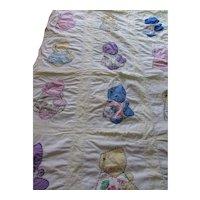 Sunbonnet Quilt Child's Quilt Crib Coverlet Applique Sunbonnets Colorful Prints
