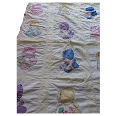 Sunbonnet Quilt Child's Quilt Crib Coverlet Applique Sunbonnets Colorful Prints