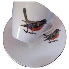 Set Bird Demitasse Cups and Saucers Bavaria Schumann Arzebero Germany