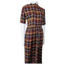 Fabulous School Girl Brown Plaid Day Dress NOS Size 9