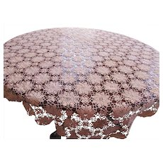 Beautiful Ecru Crochet Lace Table Cloth for Fine Dining