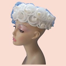 Pretty Mid Century Hat in Organdy Rolled Roses on Baby Blue Pillbox Union Made