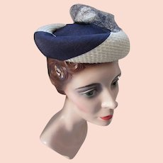 Mid Century Hat Modified Pill Box in Swirled Navy and White Fabric Spring Summer Hat