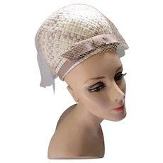 1960 Era Bubble Hat in Cream & Cocoa Woven Cellophane Cocoa Ribbon Bow by Favorette