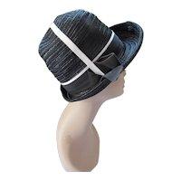 High Crown Hat Black Straw White Stripe Accent by Desi