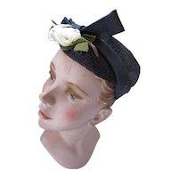 Mid Century Navy Topper Hat White Rose Spring Summer