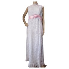 1960 Era Prom or Wedding Dress in Pristine White Lace with Pink Satin Waist Ribbon Bow