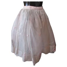 Sweet Full Skirt Pretty in Pink Embroidered Organdy over Tulle Adolescent Size