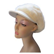 Mod Style White Rabbit Fur Visor Cap from Sears Fashions Winter Hat with 1970 Vibe