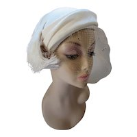 Sophisticated Hat in White Shantung Fringed Side Tabs Mr Jacques