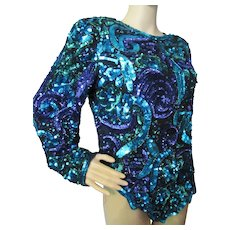 Laurence Kazar Vintage Evening Wear Sequin Top in Emerald, Teal and Purple Made in India Size Large