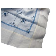 Embroidered Table Cover in Deep Blue and White Flower Burst Design