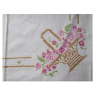 Pretty Vintage Luncheon Cloth in Pink and Rose Cross Stitch with Marigold Basket
