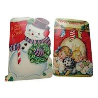 Kiddie Christmas Greeting Cards Santa Snowmen