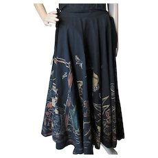 Amazing Circle Skirt Black Painted Design Hecho en Mexico