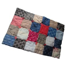 Doll Size Tied Quilt in Reds Blues Patchwork