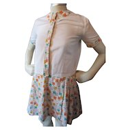 Pre Adolescent Girl Mini Dress and Jacket in Citrus Flower Pattern 1960 Style