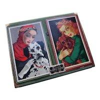 Pair Duratone Pinochle Playing Cards Fashion Ladies & Dogs 1950 Era