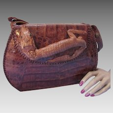 Genuine Alligator Hand Bag with Small Alligator in Relief Fold Over Top 1940 Style