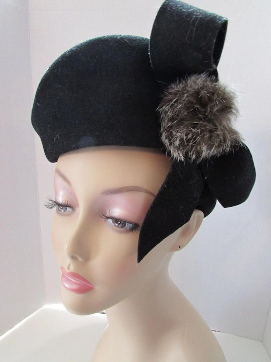 5adaabd7818 Unusual Vintage Tilt Hat Black Wool Felt and Rabbit Fur Puffs Merrimac Hats  Made in USA