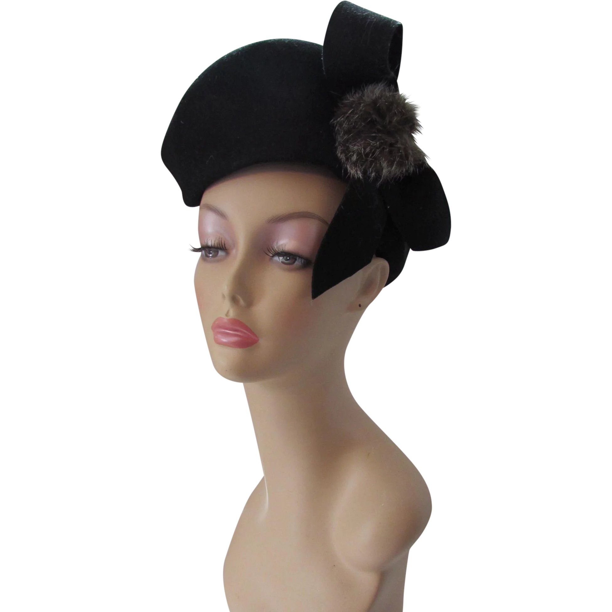 8e696afc926 Unusual Vintage Tilt Hat Black Wool Felt and Rabbit Fur Puffs Merrimac    Maude s Vintage Ware