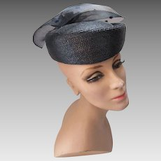 Modern Take on Pill Box Hat in Black Millinery Straw Net Circle Top with Chenille Dots