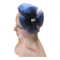 Cocktail Half Hat Band in Midnight Blue Maltese Cross Design by Marie Buffehr Hand Made
